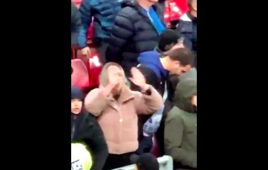 (Video) Two Everton fans spotted making disgusting gestures at Anfield