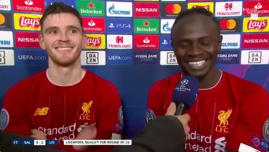 (Video) Sadio Mane and Andy Robbo get the giggles after no.10 tries to say sorry