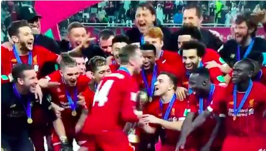 (Video) Henderson drops the Hendo-Shuffle with epic trophy lift as Liverpool win Club World Cup