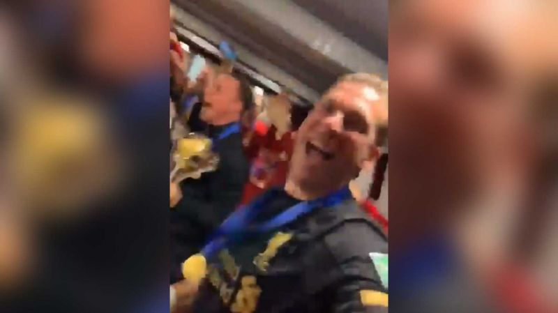 (Video) Adrian takes us into LFC changing room as Lijnders leads epic post-match celebrations