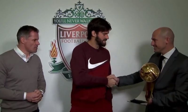 (Video) Alisson collects award for 'best goalkeeper in the world' in Dubai