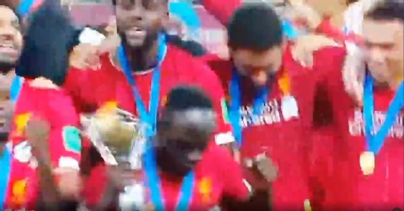 (Video) Mane dances with Club World Cup trophy – but gets shy when he spots cameras