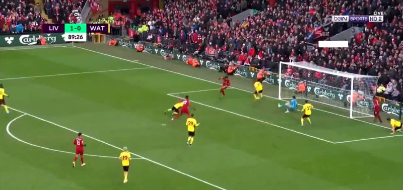 (Video) Salah scores outlandish backheel late on; embarrasses Watford defender with nutmeg
