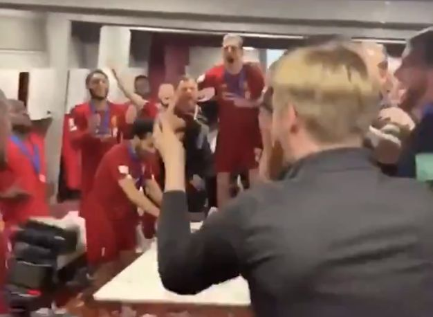 (Video) Salah gently removing cups from table so they don't spill among LFC celebrations is wholesome