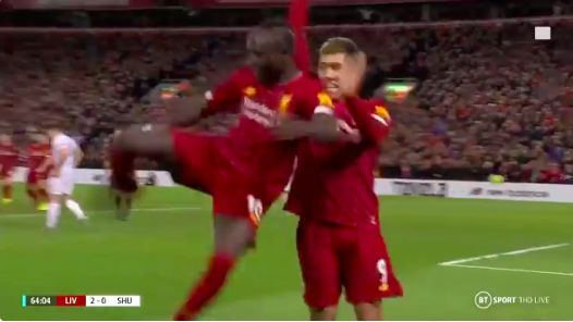 (Video) Mane's celebration is hilarious and it cracks Firmino up behind him