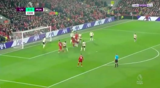 (Video) Van Dijk bullies Maguire in the air and scores for Liverpool v Manchester United