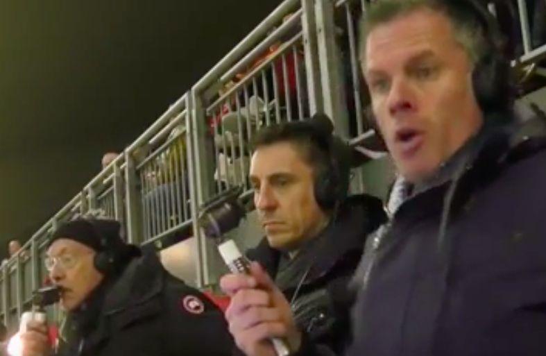 (Video) Carra & Neville's reaction to van Dijk goal very different