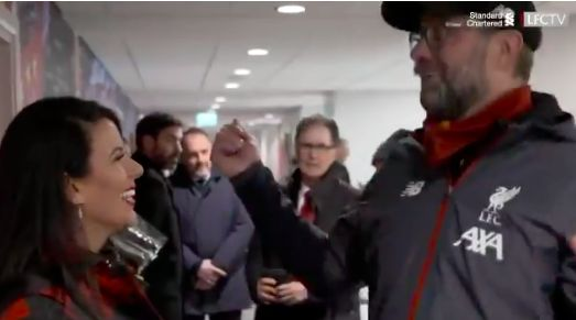 (Video) Klopp goes squeaky with Linda before JW Henry hug after United win