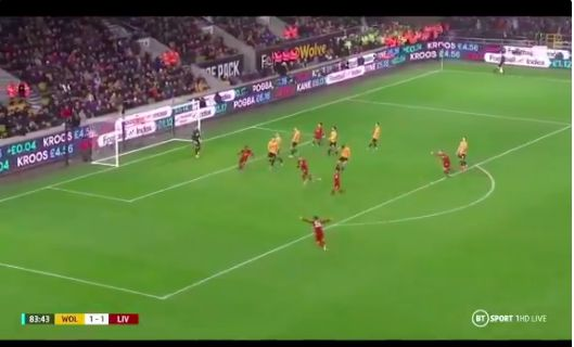(Video) Firmino curls in beauty with left-foot v Wolves to give Liverpool late lead
