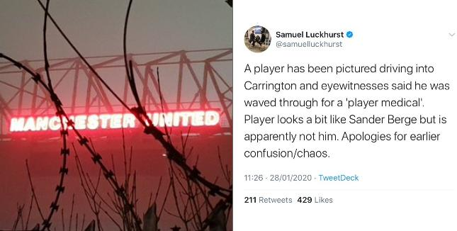 United desperation increasingly hilarious as journo claims imaginary medical due to a lookalike arriving at Carrington