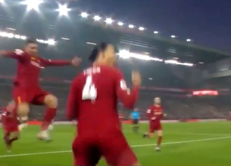 (Video) Firmino goes mad for van Dijk's bullet header v. Manchester United
