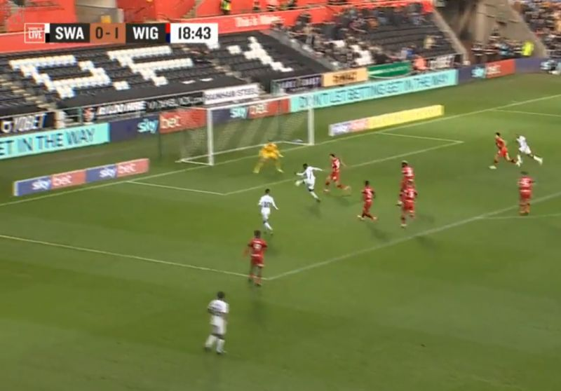 (Video) Brewster bags first goal for Swansea with smart finish against Wigan