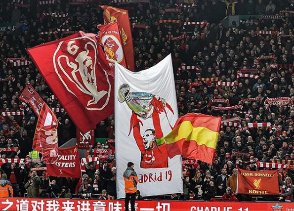 (Video) Kop proudly unfurls new Henderson 'Madrid 2019' banner at Anfield