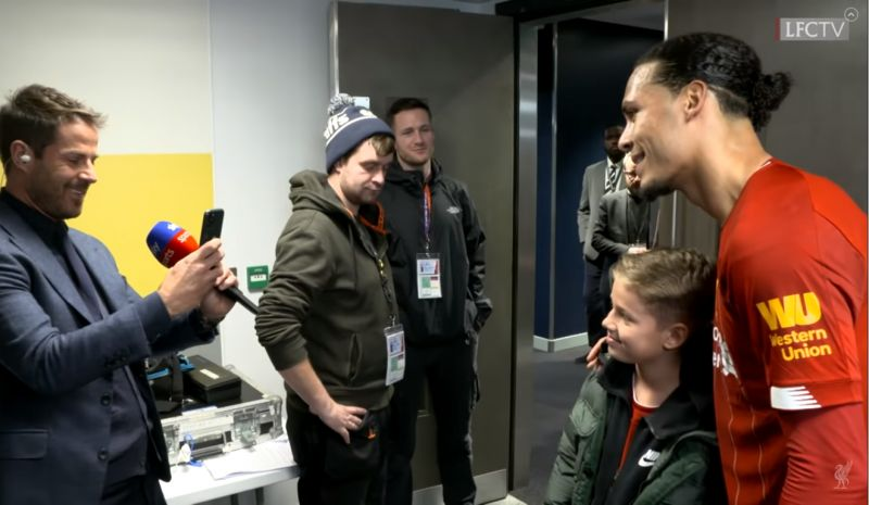(Video) Jamie Redknapp asks for photo with Virgil van Dijk for his son