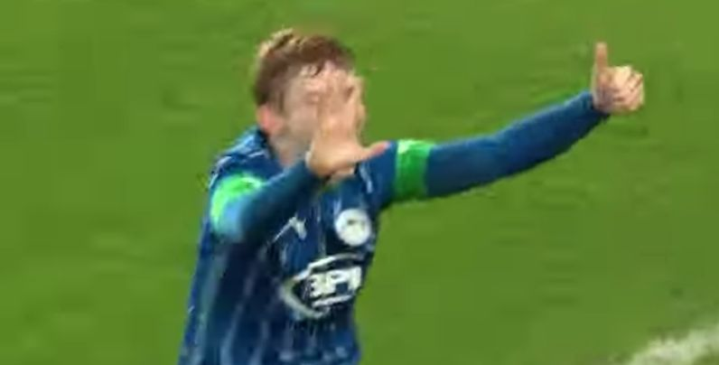 (Video) LFC-supporting Wigan starlet celebrates against Man Utd with 'six times' gesture