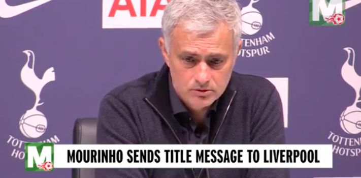 Mourinho congratulates Liverpool & says he predicted Premier League title ages ago