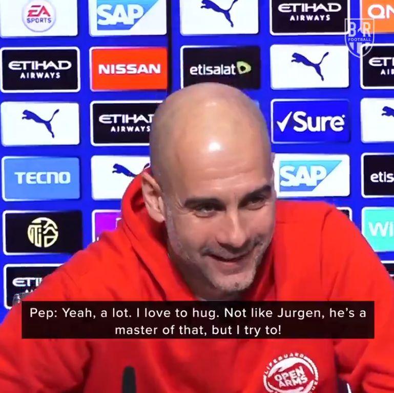 "(Video) ""Not like Jurgen, he is a master!"" – Pep admits he can't hug like Klopp"
