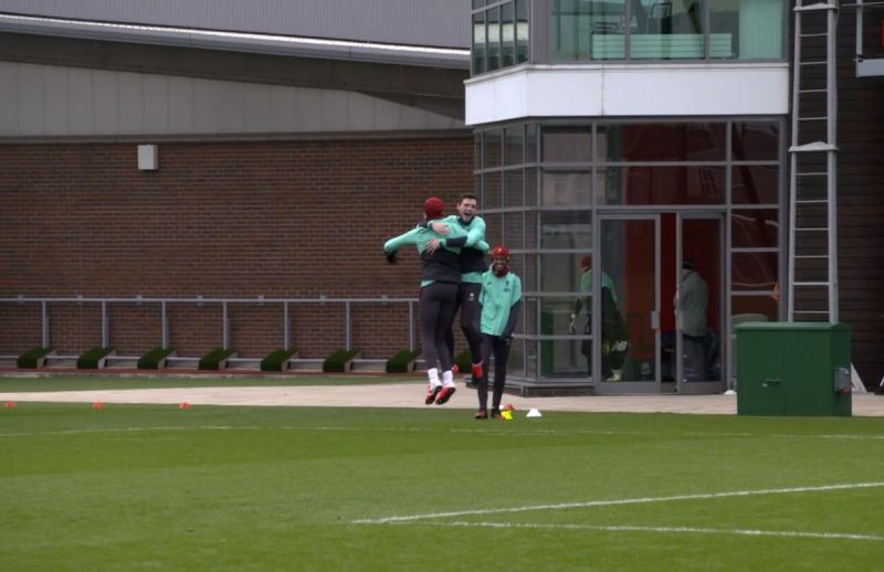 (Video) Hendo goes mental as he slots free-kick in training & celebrates with Robbo