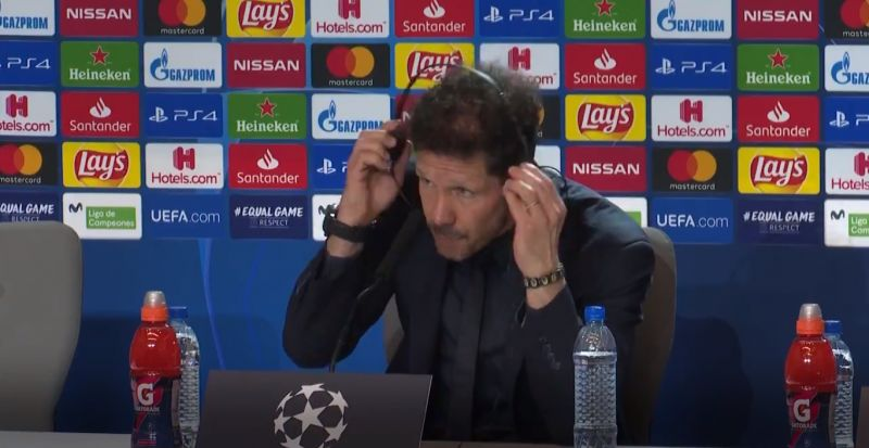 """(Video) Simeone sheepishly says he's """"not thinking"""" about Anfield leg after Atletico beat LFC 1-0"""