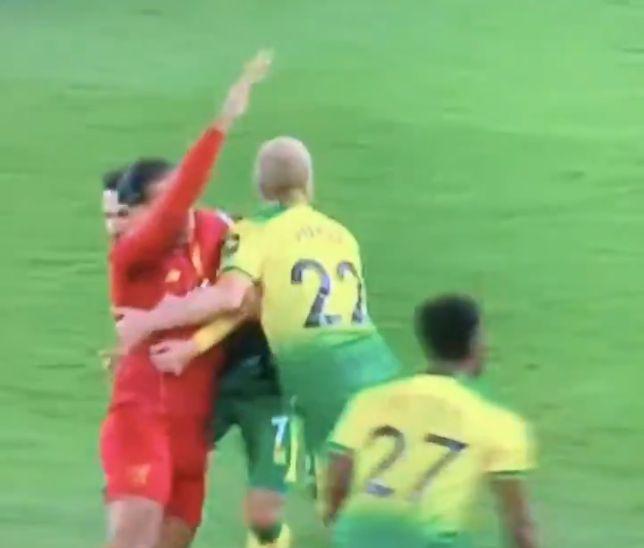 (Video) Liverpool denied penalty as Virgil van Dijk is dragged down by two defenders