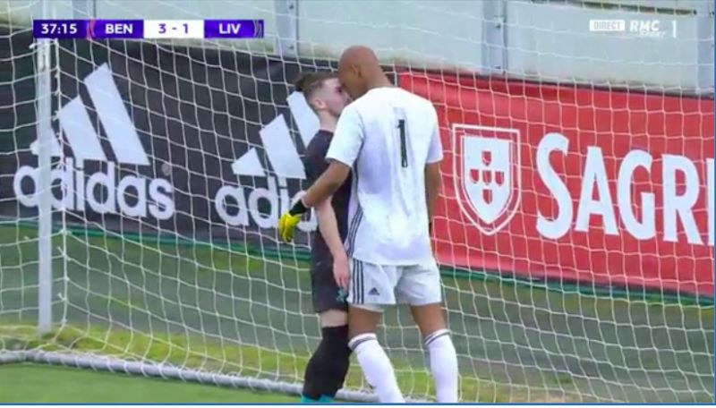 (Video) Harvey Elliott squaring up to giant goalkeeper after Liverpool goal shows he's not one bit scared