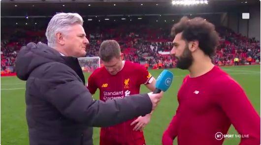 (Video) Salah and Milner get the giggles as LFC's no.7 given MOTM award