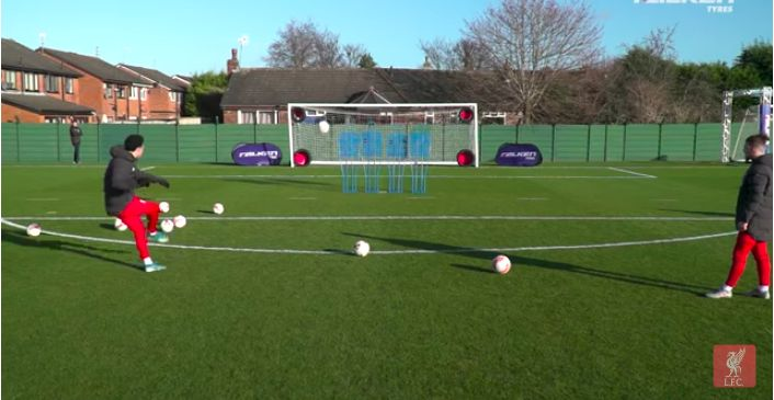 (Video) LFC shooting challenge: Reds, including Trent & Minamino, fire through moving tyres