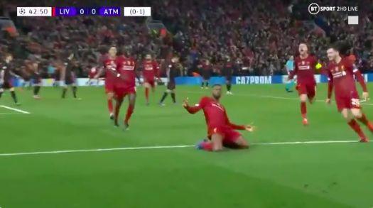 (Video) Gini Wijnaldum world-class header from stunning Trent cross opens scoring for Liverpool v Atletico