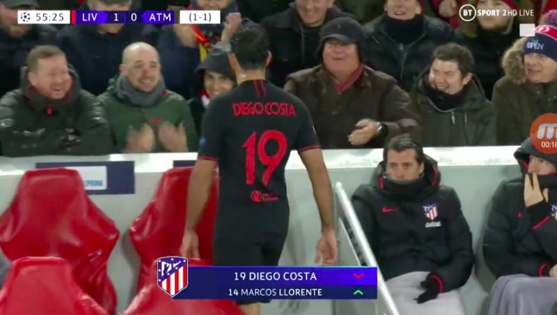 (Video) Diego Costa boots water-bottle in anger as Reds serenade him with old classic