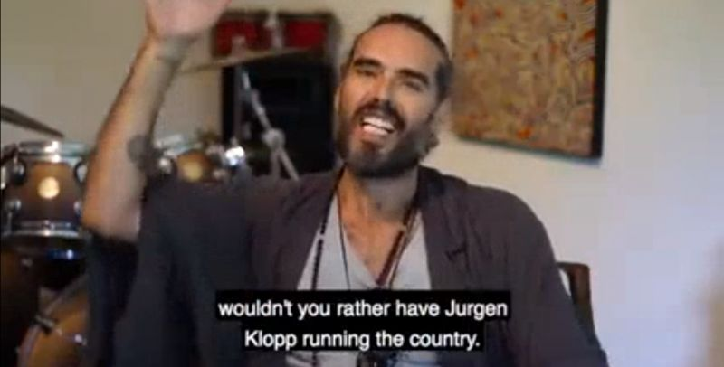 (Video) Russell Brand wants Jurgen Klopp to run the country after LFC boss sends brilliant message