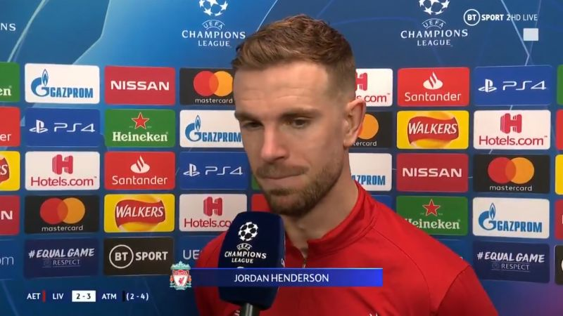 "(Video) Henderson laments ""mistake"" that caused LFC's loss to Atletico in the UCL"