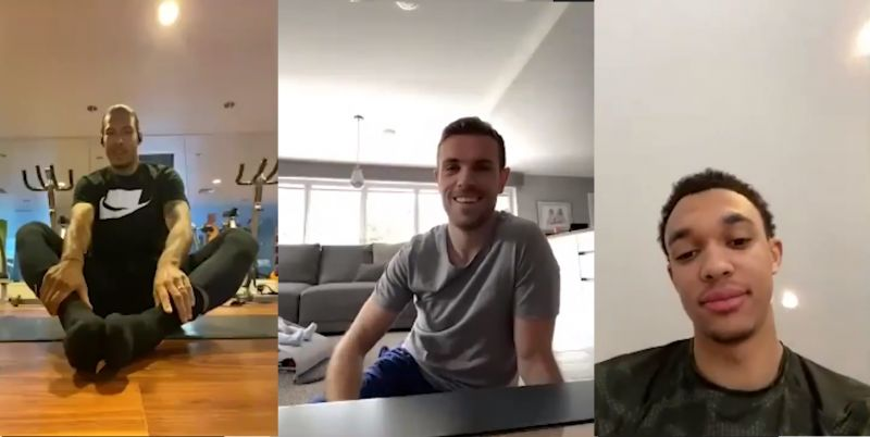 (Video) LFC squad in hysterics as they take part in pre-yoga group chat
