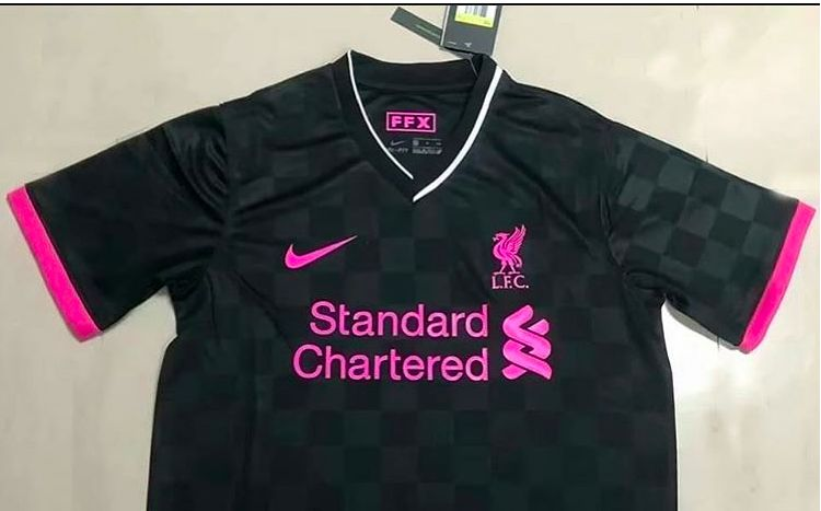 (Image) Liverpool's Black & Pink Nike 3rd kit, with tags on, circles social media
