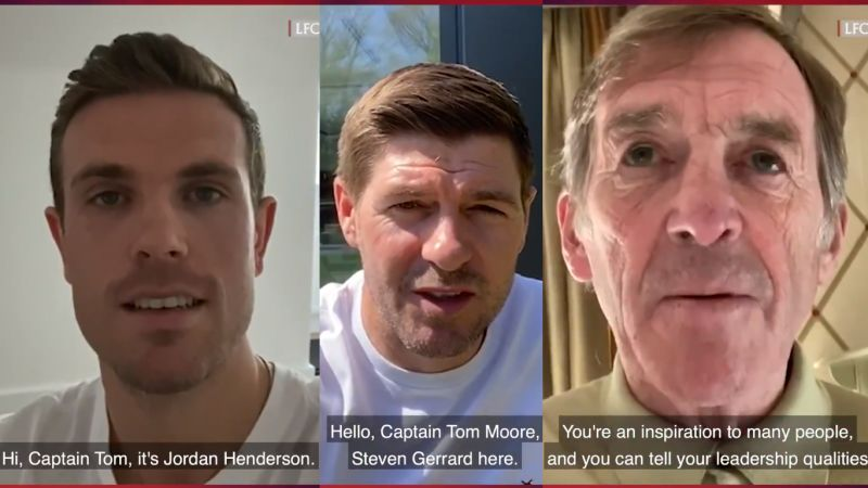 (Video) LFC stars congratulate Captain Tom for reaching #1 with YNWA cover