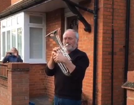 (Video) Man plays You'll Never Walk Alone for the NHS on a tuba