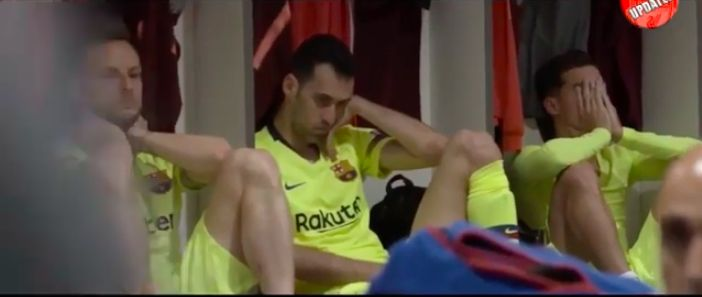 (Video) Barca's dressing room reaction as Coutinho & Suarez to fail to comprehend Liverpool 4-0 Barcelona, one year on