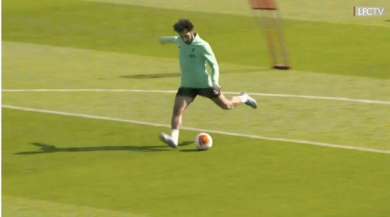 (Video) LFC finishing drill: Mo Salah looks sharp as Harvey Elliott shows off left-foot at Melwood