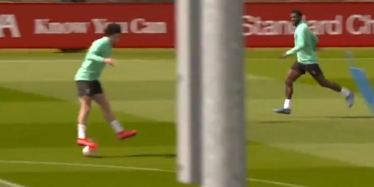 (Video) Curtis Jones pulls off skilful layoff in training with Gini & Fabinho