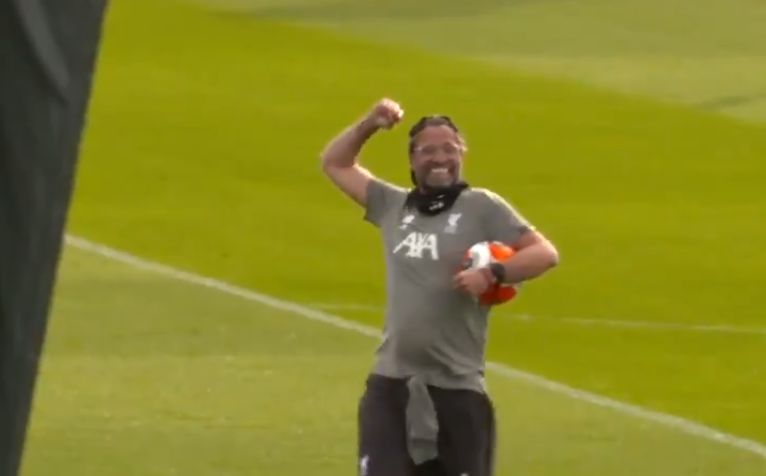 (Video) Jurgen Klopp fist-pumps to the camera during training at Melwood