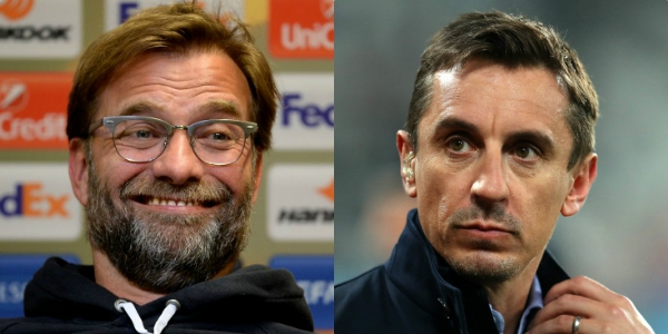 Gary Neville's four-word reply to Jurgen Klopp poking fun at him