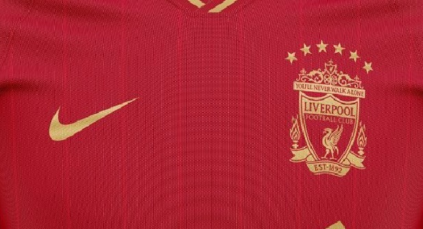 (Image) LFC crest with six stars features on red & gold concept Nike UCL kit