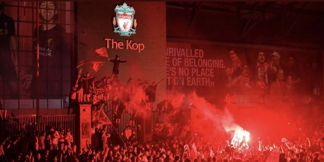 (Video) Liverpool fans paint the sky red outside Anfield after Premier League title win
