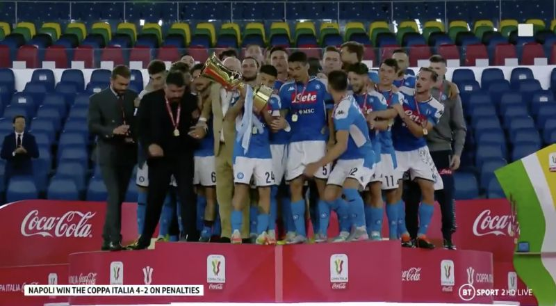 (Video) Napoli's Copa Italia celebration disregarded social distancing, and it was much better for it