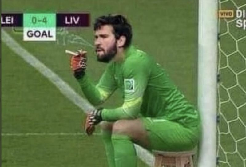 Klopp jokes with Alisson that he didn't make a save at full-time v Crystal Palace