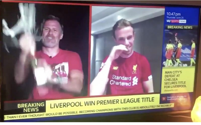 (Video) Hendo and Carra go ballistic on Sky Sports news after LFC win title
