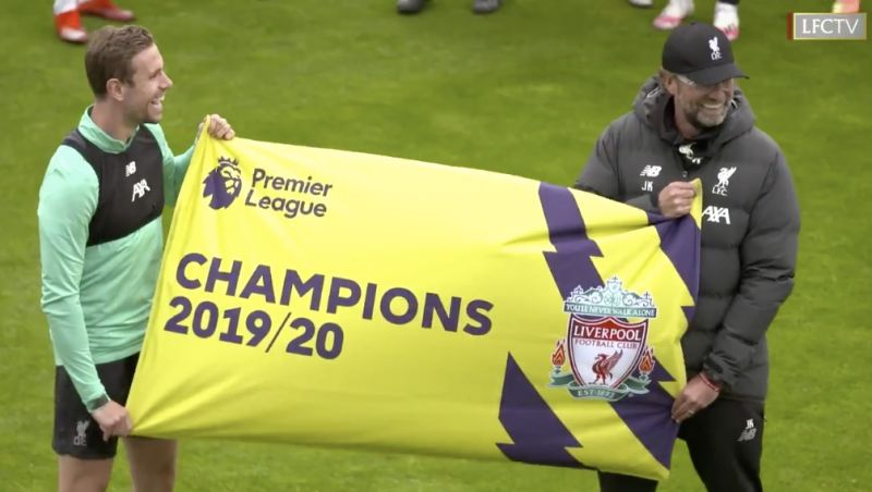 (Video) Liverpool players beam as they're presented Premier League champions banners at Melwood