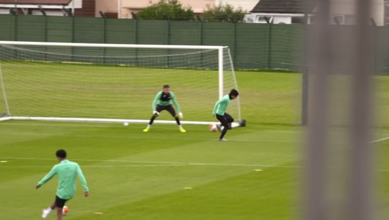 (Video) Minamino humbles Adrian with two smart finishes in LFC training at Melwood