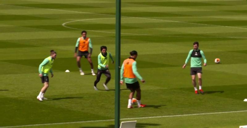 (Video) Minamino pressures van Dijk into mistake in LFC training at Melwood
