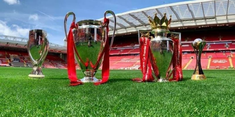 (Video) LFC share glorious clip of PL, UCL, Super Cup & CWC trophies perched on Anfield turf