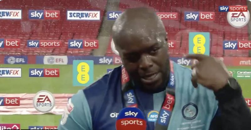 (Video) Liverpool fan Akinfenwa's post-match promotion interview the best thing ever